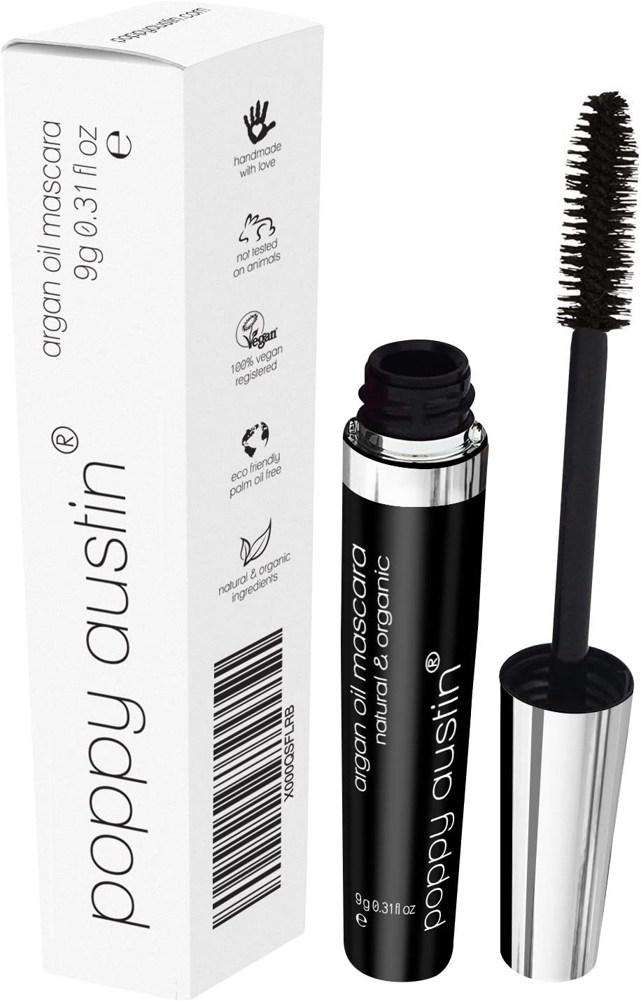 FINEST Vegan & Organic Lengthening Mascara Black With Argan Oil - Cruelty-Free, Best Natural Volumising, Thickening, Smudge Proof, Hypoallergenic, Water Based - for Sensitive Eyes & Short Lashes
