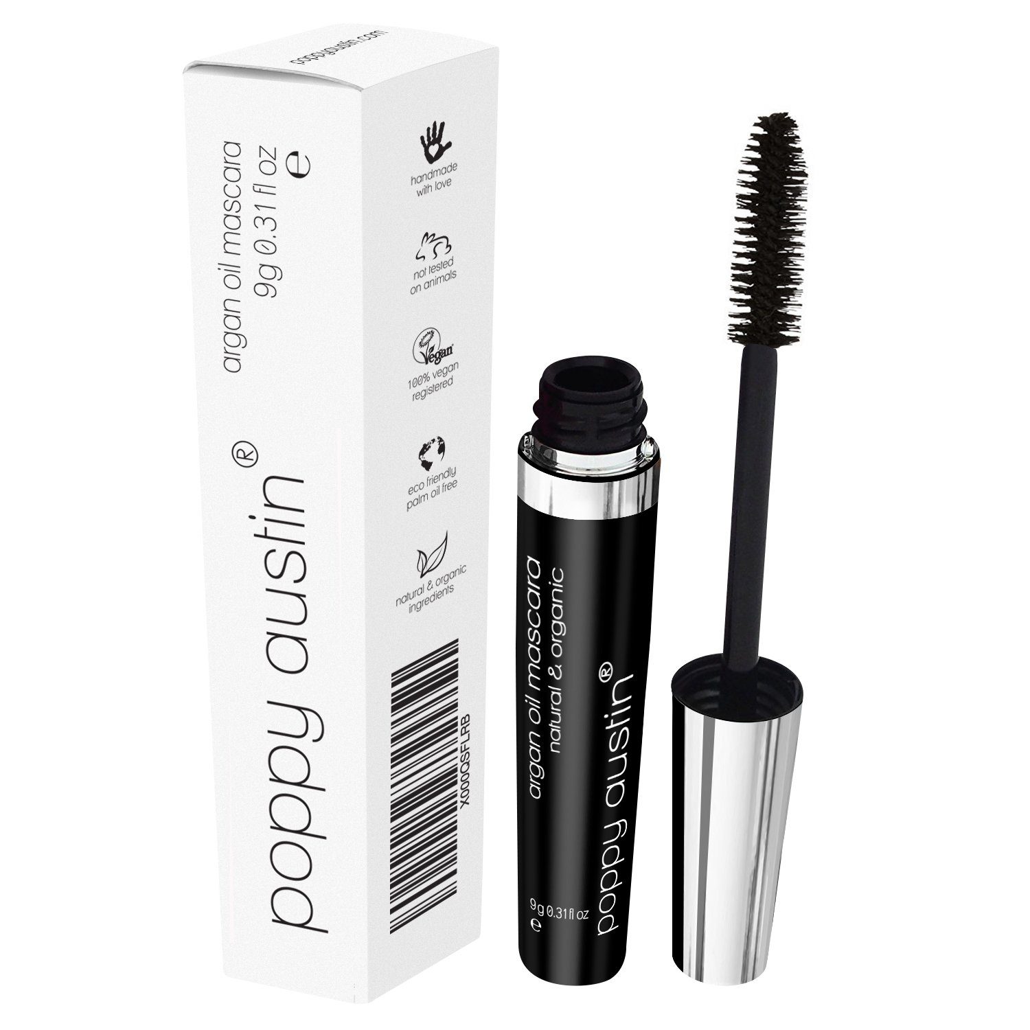 FINEST Vegan & Organic Lengthening Mascara Black With Argan Oil - Cruelty-Free, Best Natural Volumising, Thickening, Smudge Proof, Hypoallergenic, Water Based - for Sensitive Eyes & Short Lashes Poppy Austin