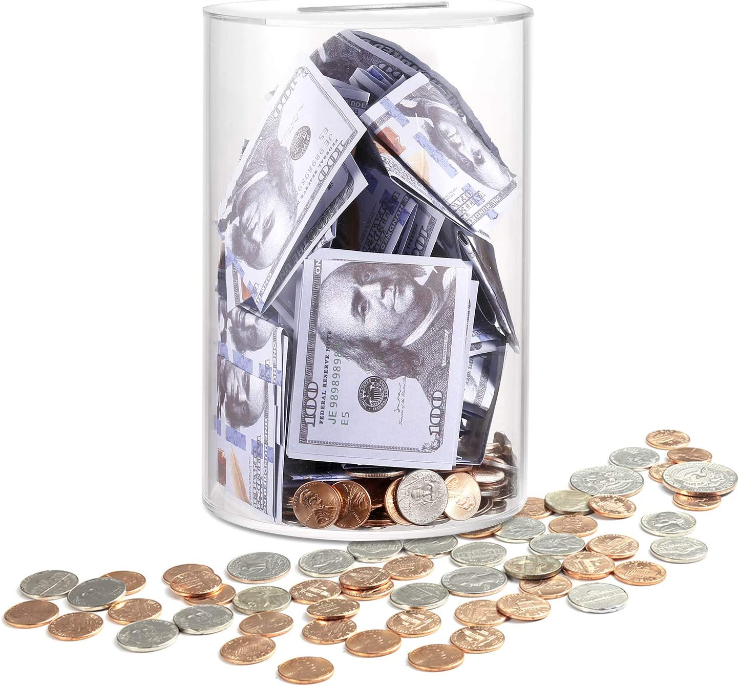Adult Piggy Bank Break to Open, ARIAL Clear Piggy Bank Savings Jar Cash and Coin, for Adults Kids Birthdays Home Decoration-Medium