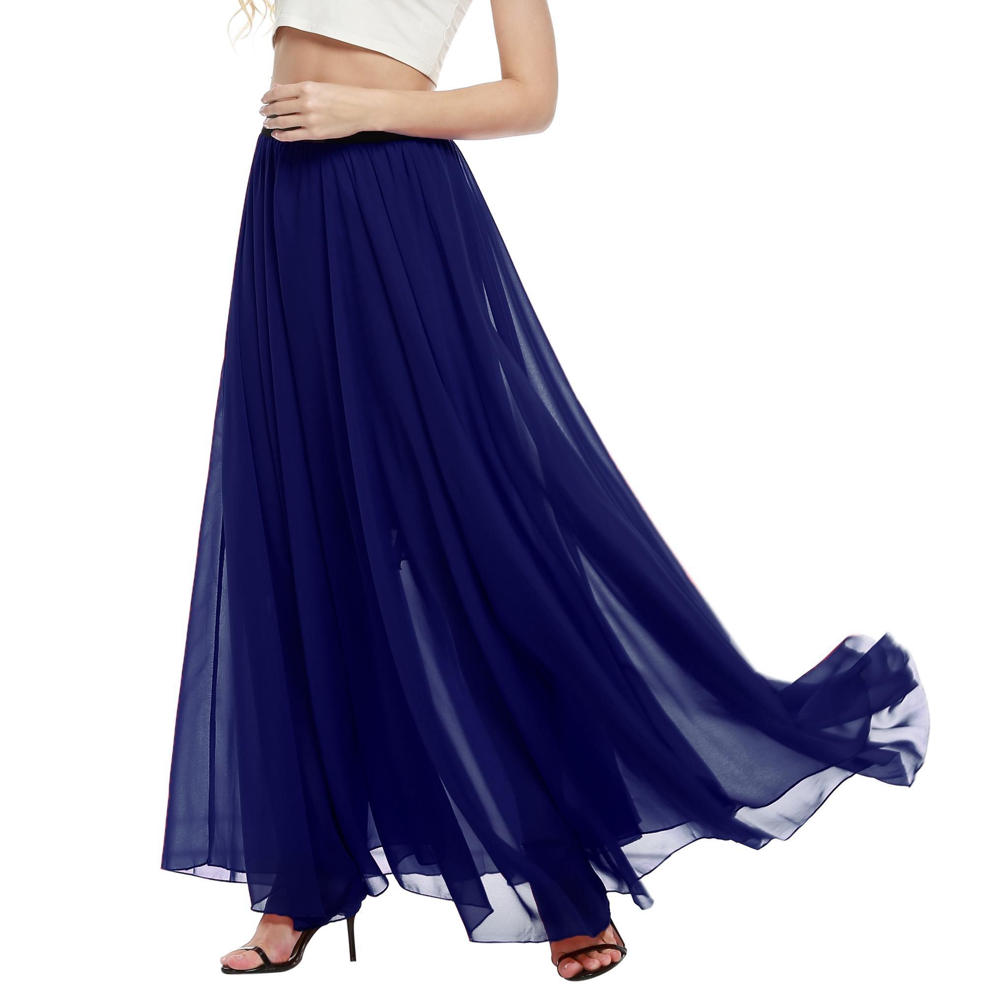 ELESOL Womens Full Length Chiffon Solid Maxi Wear to Work Skirt Dark Blue/XL