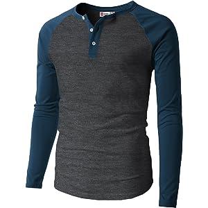 cf0d91ef31c6ae H2H Mens Casual Slim Fit Henley T-Shirts Raglan Baseball 3 4 Sleeve