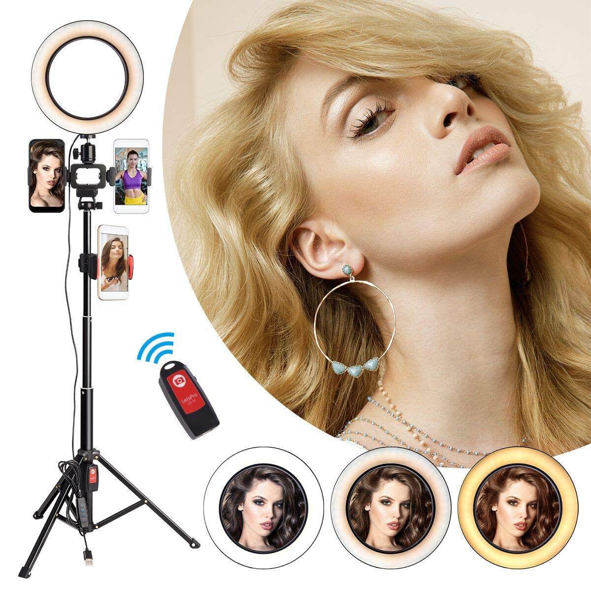 Ring Light with Tripod Stand & 3 Phone Holders, 8'' Selfie Light Ring Remote Control for Record YouTube Video, Living Streaming, Desktop Camera, Makeup, Selfie Photography, Adjustable to 52 Inch