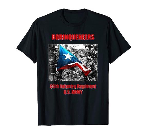 Mens Borinqueneers 65th Infantry Regiment TShirt 2XL Black