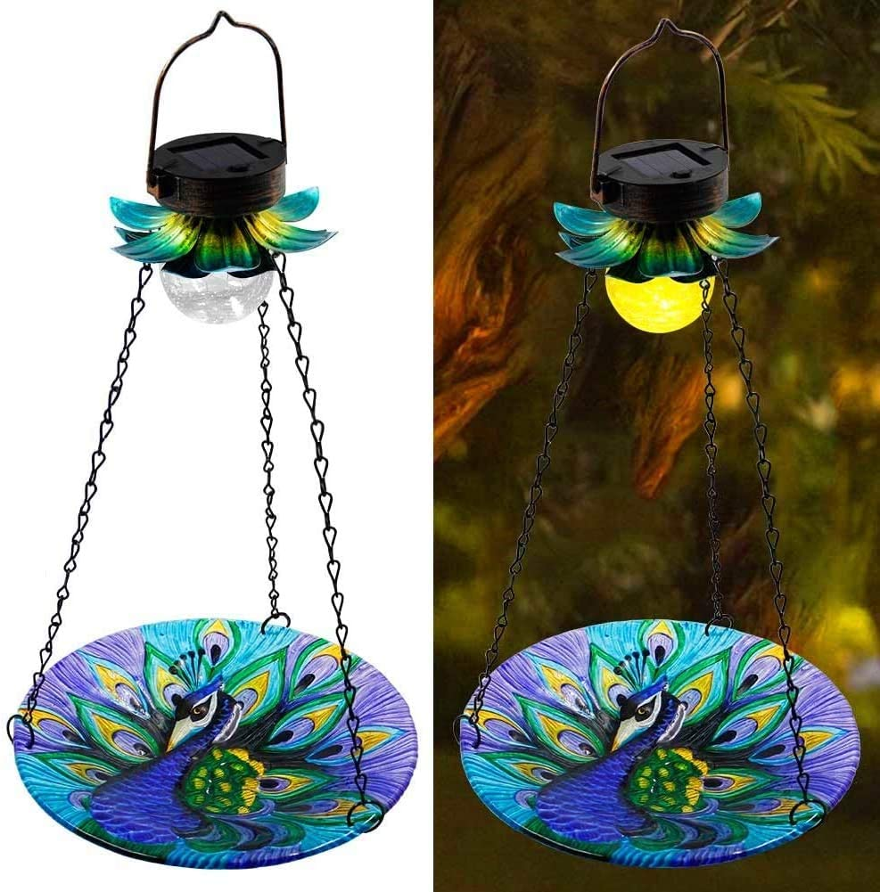 MAGGIFT Solar Powered Bird Bath for Outside Hanging, Wild Bird Feeder, Peacock Shape Glass Seed Tray Outdoor Waterproof Birdfeeders Solar Garden Light Metal Flower Decorative LED Landscape Lighting