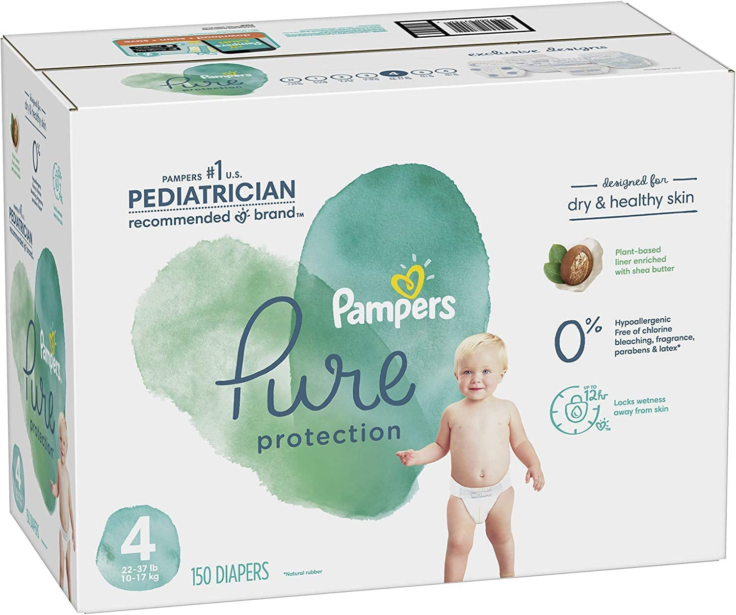 Diapers Size 4, 150 Count - Pampers Pure Protection Disposable Baby Diapers, Hypoallergenic and Unscented Protection, ONE MONTH SUPPLY: Health & Personal Care