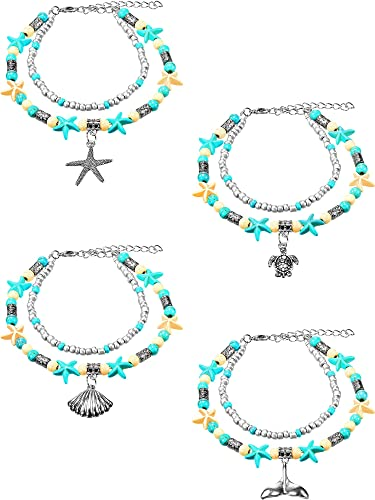 Jewellery & Watches Considerate Beautiful Handmade Turquoise Bead And Silver Leaf Feather Charm Anklet Fashion Jewellery