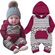 Baby Boy Hoodie Romper Long Sleeve Onesie Fall Outfit Jumpsuit Bodysuit Pajama for Newborn Infant Toddler Kids (Red, 6-12 Months)