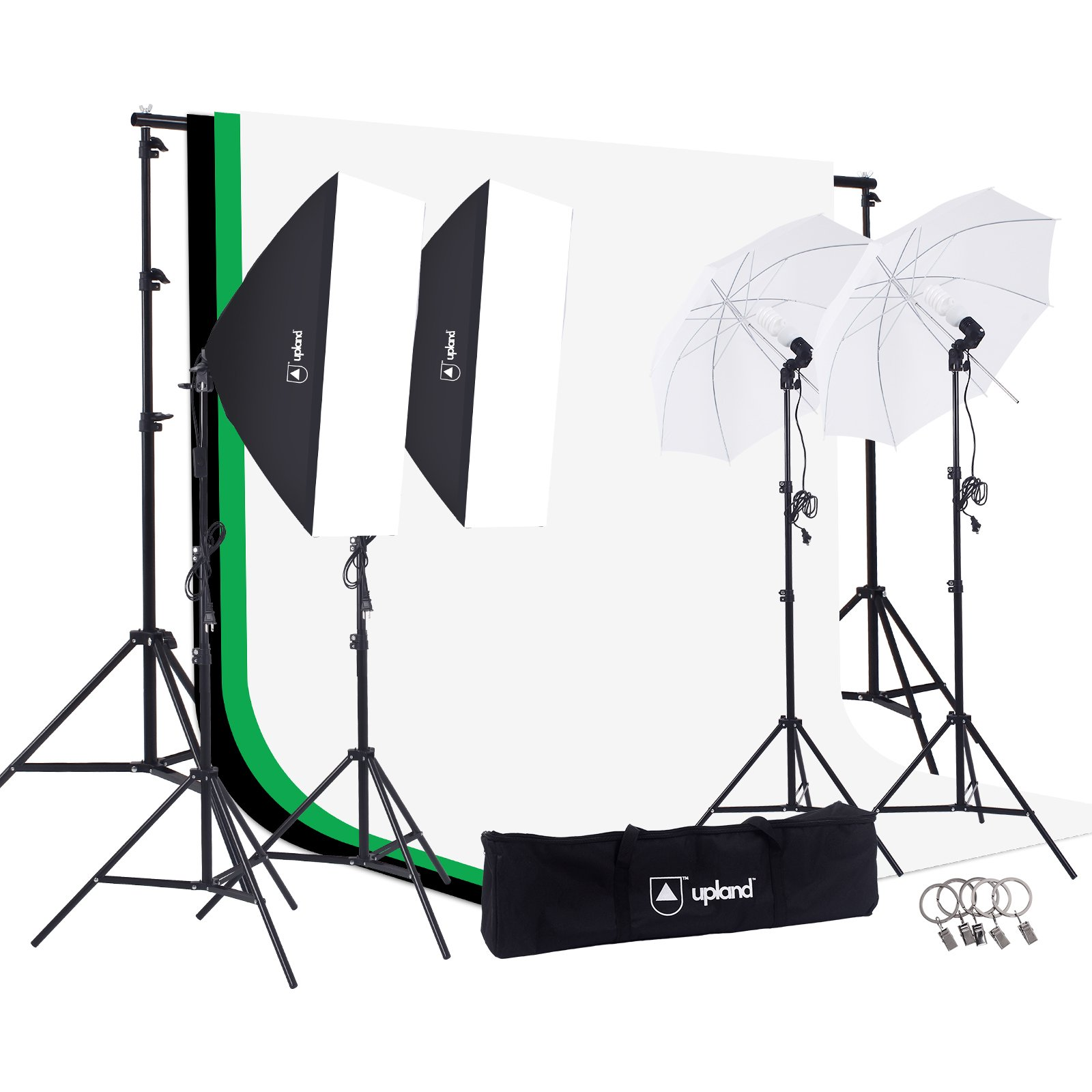 Upland Photography Studio Lighting Kit, 800W 5500K Umbrella Softbox Continuous Light Kit for Product, Portrait and Video Shoot by Upland