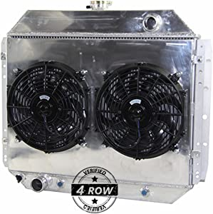 Primecooling 62MM 4 Row Core Aluminum Radiator +Fan (12 inches Dia.) Shroud for Ford F100 F150 F250 F350 Truck Pickup 1966-79 /Bronco V8 1978-79