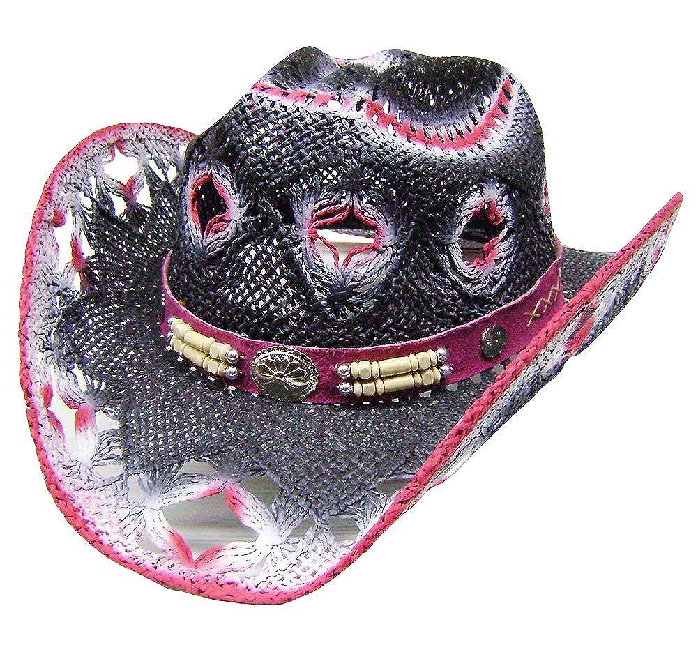 Modestone Women's Straw Cowboy Hat White Fuchsia Black 5899n-Size-Large