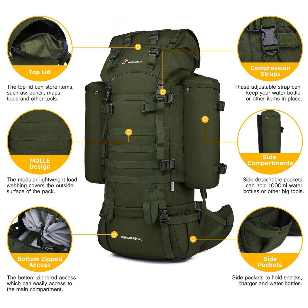 Amazon.com : Mardingtop 65+10L Internal Frame Backpack Tactical ...