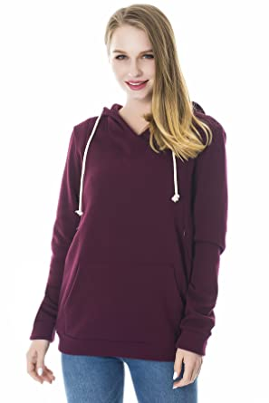 Smallshow Women s Fleece Maternity Nursing Sweatshirt Hoodie with Kangaroo  Pocket Burgundy Small cf24bc8d1