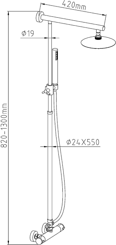 EISL DX1006CS Columna de ducha Gymerica con mezclador termostático ...