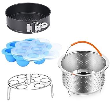 Accessories Set Compatible Instant Pot-Fits 6,8Qt Instant Pot Pressure Cooker,4-Pcs with Steamer Basket,Egg Steamer Rack,Silicone Egg Bites Mold,Non-stick Springform Pan,Best Gift Idea