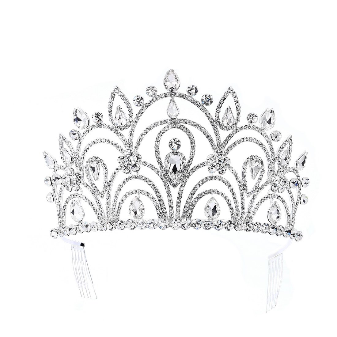 Eseres Tall Pageant Tiaras with Combs for Women Elgeant Rhinestone Crown by Eseres