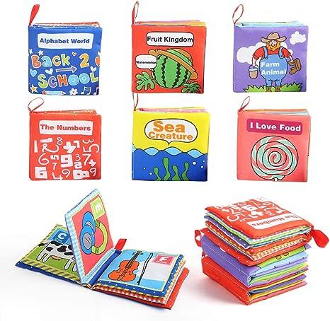 Mois BeebeeRun Livres en Tissu pour b/éb/és 6 Pi/èces,dactivit/é de Livre danimal Livres de Queue,Jouets pour Nouveau-n/és Educatif Cadeau pour Enfants B/éb/é Bambin 0