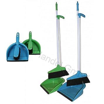 Blau TW24 Kehrgarnitur mit Stiel mit Farbwahl Kehrset Schaufel Besen Stiel Kehrblech Kehrschaufel Set