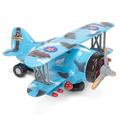 Air Show Stunt Action Biplane Blue Camo 10 x 10 Acrylic Toy Vehicle: Toys & Games