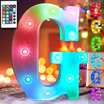 Obrecis 16 Color Changing Light Up Letters Lights 26 Alphabet, Marquee Sign with Remote Control Diamond Bulb Words for Valentine's Day, Halloween, Christmas Decorations- RGB Letter G