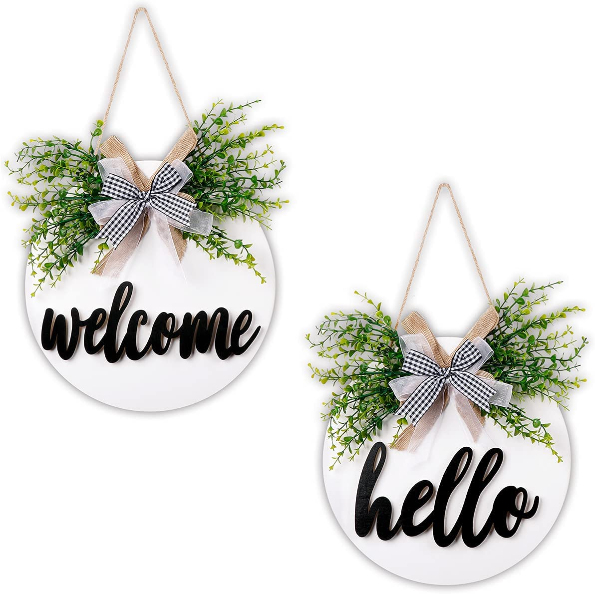 AerWo Seasonal Welcome Sign Front Door Porch Decor, Hello Interchangeable Rustic Wood Wall Hanging Porch Decorations for Housewarming Gifts, New Year, Christmas, Farmhouse Outdoor Home Decor, 11.8