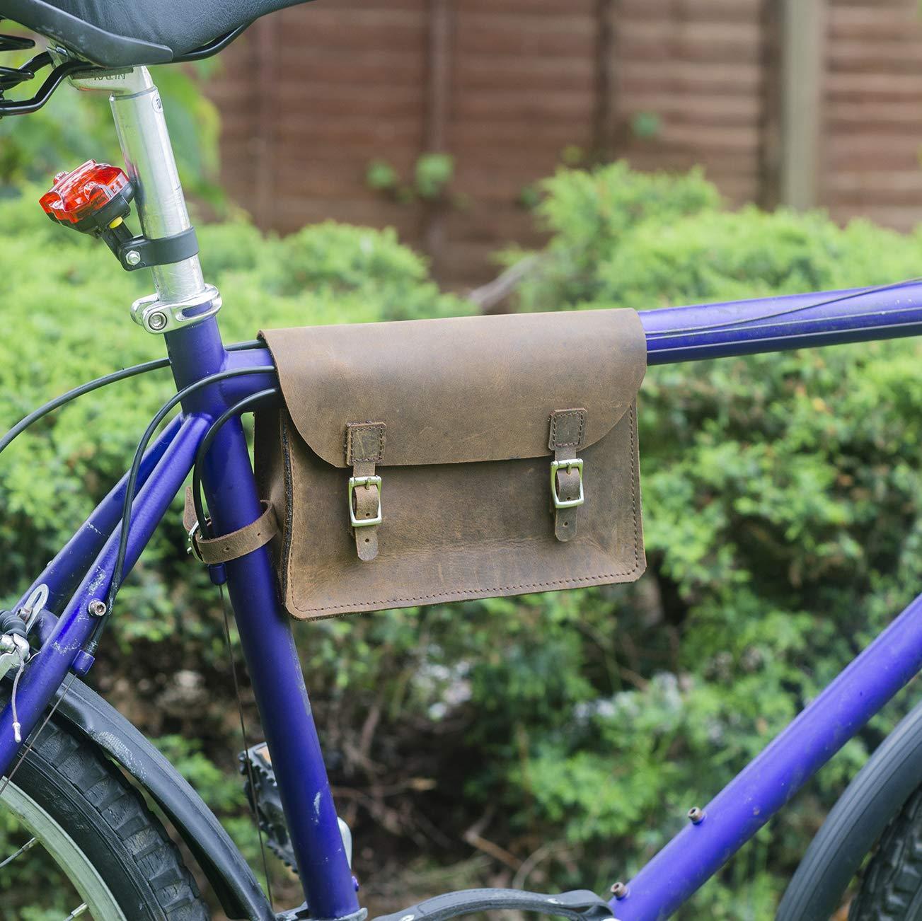 LondonCraftwork 自転車用フレームバッグ 本革 ビンテージ ブラウン S-FRA-RAW   B07MKHK4PX