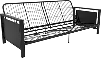Black Metal Arm Futon Frame, Sturdy Metal Frame, Low Profile Designed, Multi-functional, Convertible to Full Size Sleeper, Living Room Sofa, Bundle with Our Expert Guide with Tips for Home Arrangement