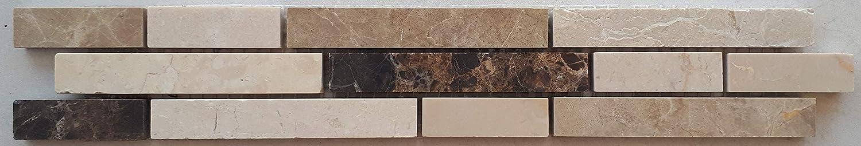 Crema Marfil und Emperador Light Marmor im Format von 30 x 5 cm Naturstein Mosaik Bord/üre aus spanischem Emperador Dark