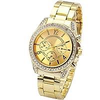 Top Plaza Unisex Gold Fashion Womens Mens Crystal Accented Analog Quartz Bracelet Watch