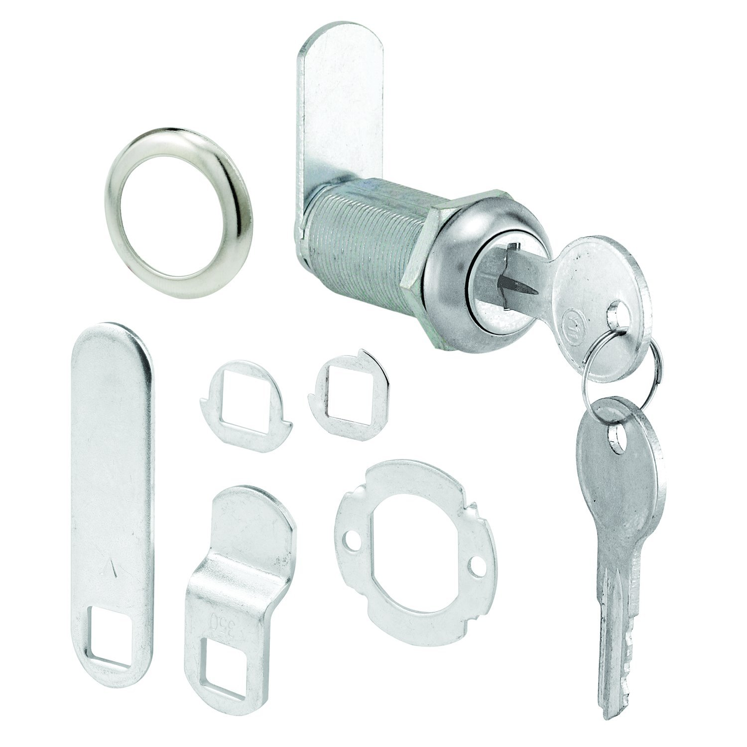 Prime-Line Products U 9950 Drawer & Cabinet Lock, 1-3/8 in., Stainless Steel Face, 1 in. Max. Panel