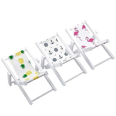 Vordas 3 Piezas Miniatura Silla de Playa Plegable, Mini de la Playa de Madera Casa de Muñecas Plegable Silla para Soporte de Teléfono Móvil, Ornamento: Juguetes y juegos