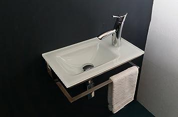 Edelstahl-traeger mit Glas-gaeste-wc-waschtisch Optiwhite cm 47 ...