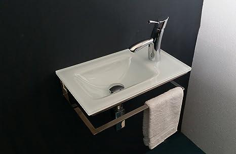 Arredo bagno lavabo lavandino lavamani in vetro extrachiaro bianco