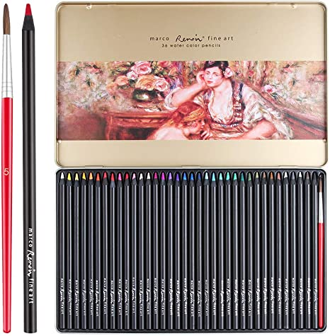 12 x Artists Art Craft Watercolour Pencils In Tin Drawing Sketching Colouring