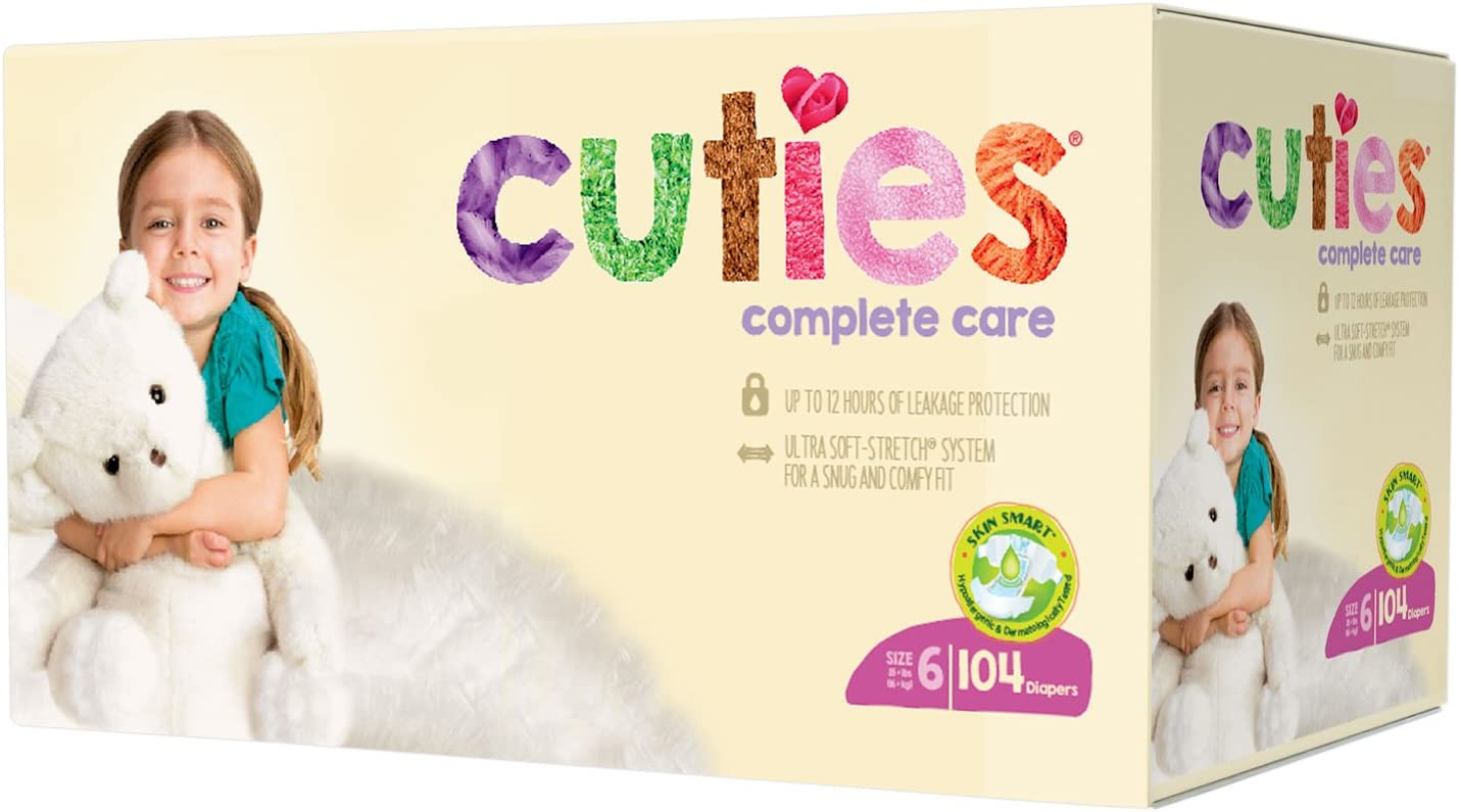 Cuties Complete Care Baby Diapers - Size 6 (104 Count)