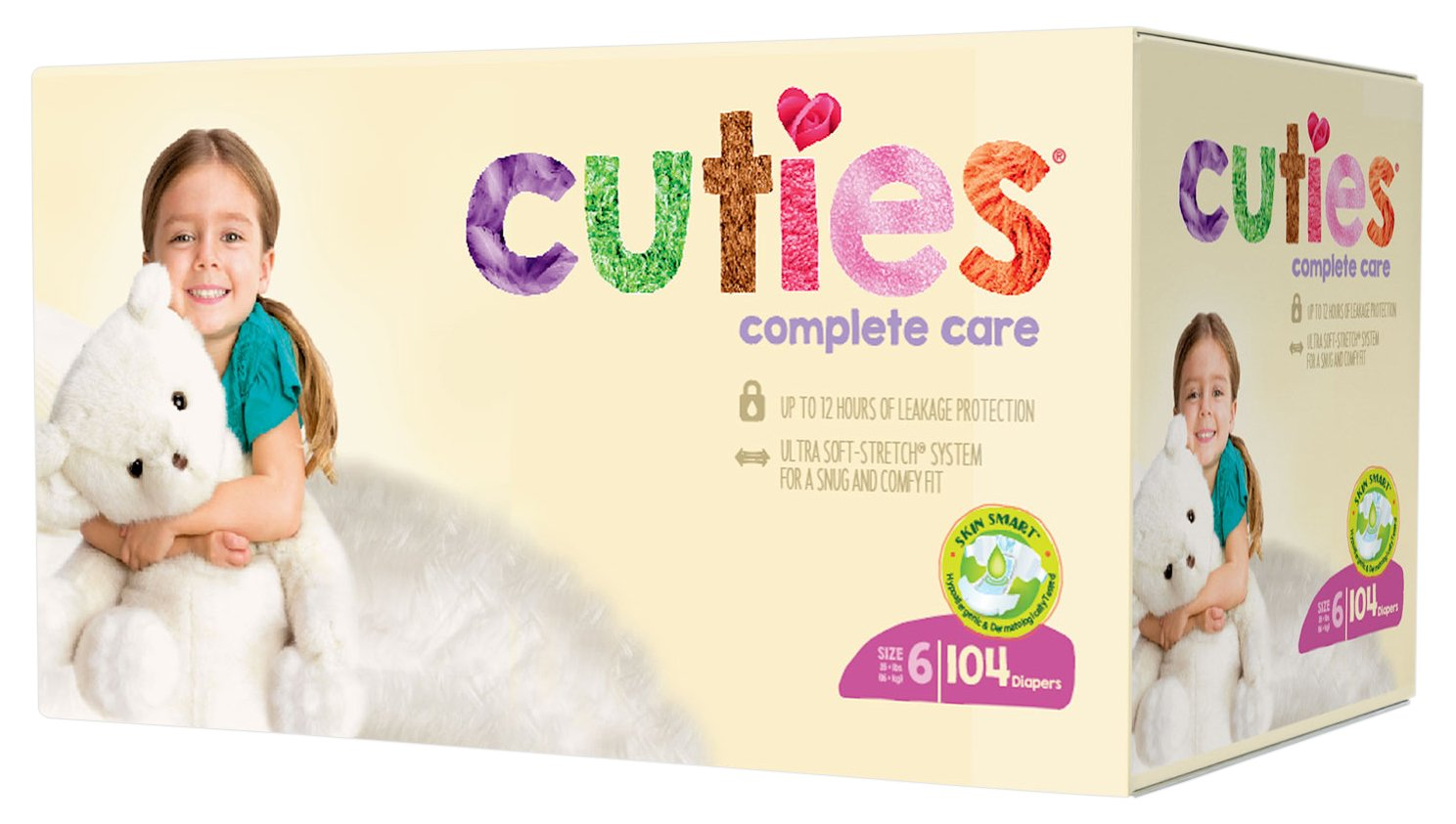 Cuties Complete Care Baby Diapers, Size 6, 104 Count