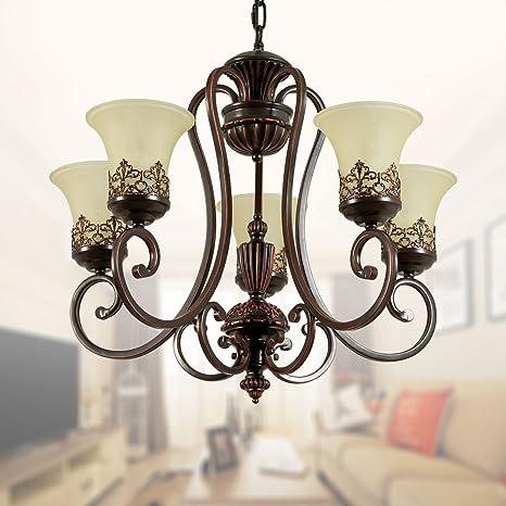 Amazon.com: Negro hierro forjado lámpara de araña con ...