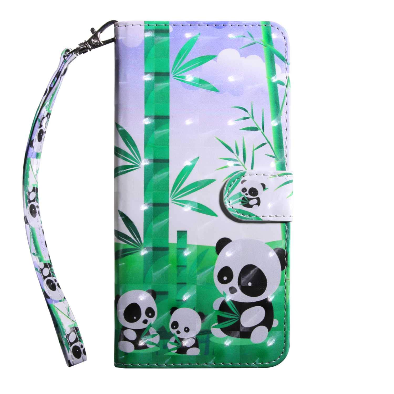 Xiaomi MI 5X Case CUSKING Magnetic Wallet Case for Xiaomi MI 5X [Card Slot] [Hand Strap] [Flip Case] [Easy to Clean] Full Body Proective Case - Panda