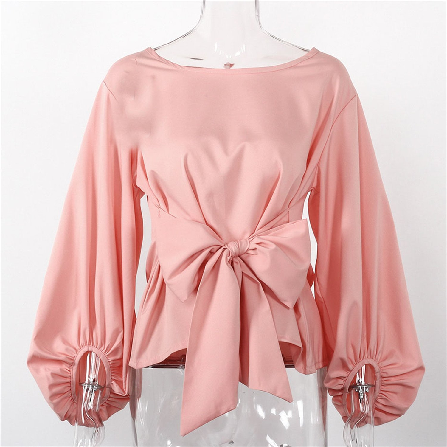 Amazon.com: Guy-Hats Chiffon Wrap Blouse Long Sleeve Blouses with Bow Belt Loose Casual Tops Womens Clothing: Clothing