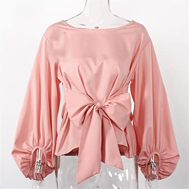 Guy-Hats Chiffon Wrap Blouse Long Sleeve Blouses with Bow Belt Loose Casual Tops Womens