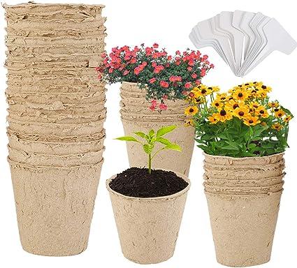 En bois de bouleau Singeru Lot de 25 pots de semis biod/égradables En fibre de tourbe Pour semis