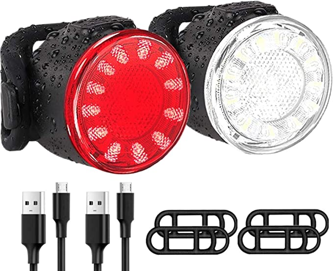 Waterproof IPX4 TP Bike Light Set Super Bright USB RECHARGEABLE Bicycle Lights