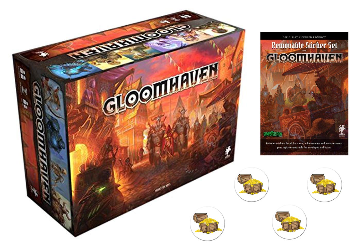 Bundle of Gloomhaven Board Game and Sticker Set Plus Four Treasure Chest Button