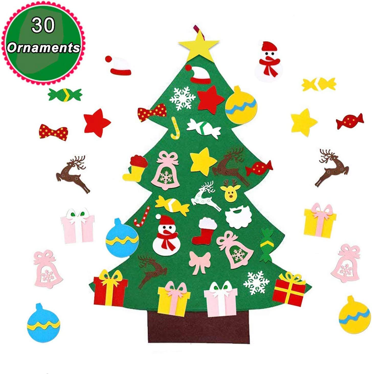 Wall Hanging Xmas Gifts for Kids Toddlers Home Wall Door Decoration Christmas Party Supplies 3.5 Feet LED DIY Felt Christmas Tree with 30PCS Detachable Ornaments