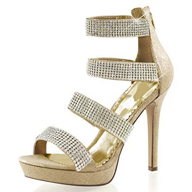 Amazon.com | Womens Gold Strappy Heels Platform Sandals ...