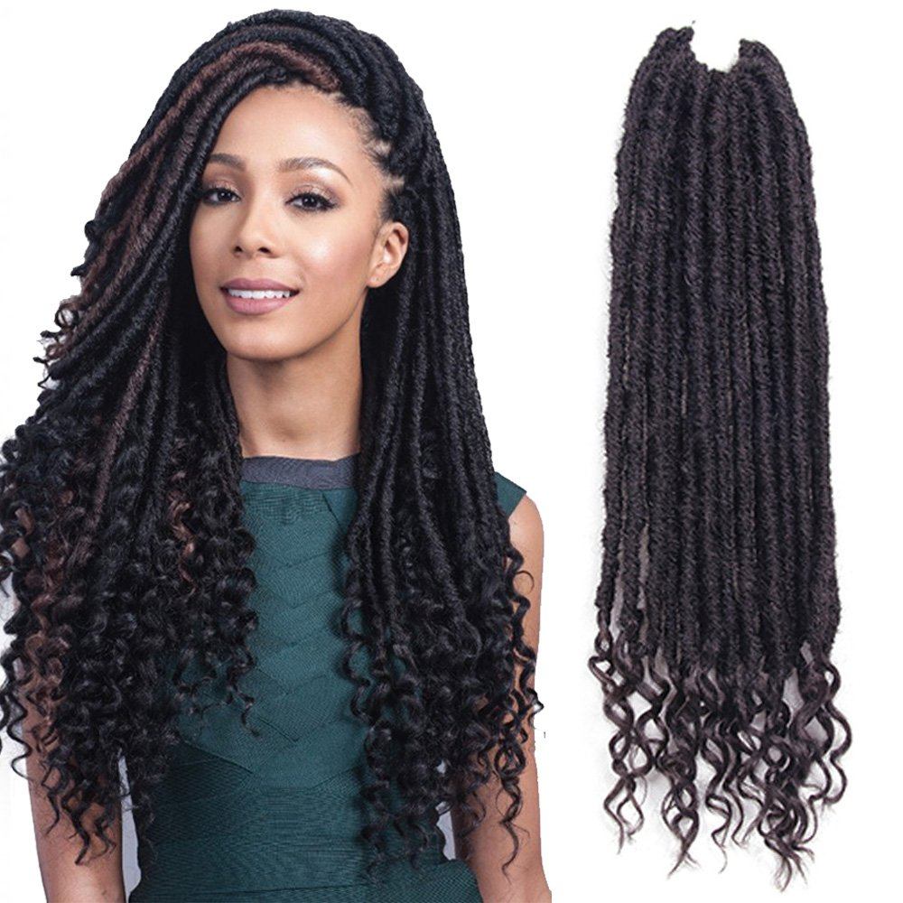 Gabrielle 6 Pack 20Inch 2# Goddess Locs Gypsy Crochet Hair With Curly Ends Kanekalon Synthetic Hair Twist Braiding Goddess Hair Extensions 24 Roots 110 g (3.8 oz)/Pack