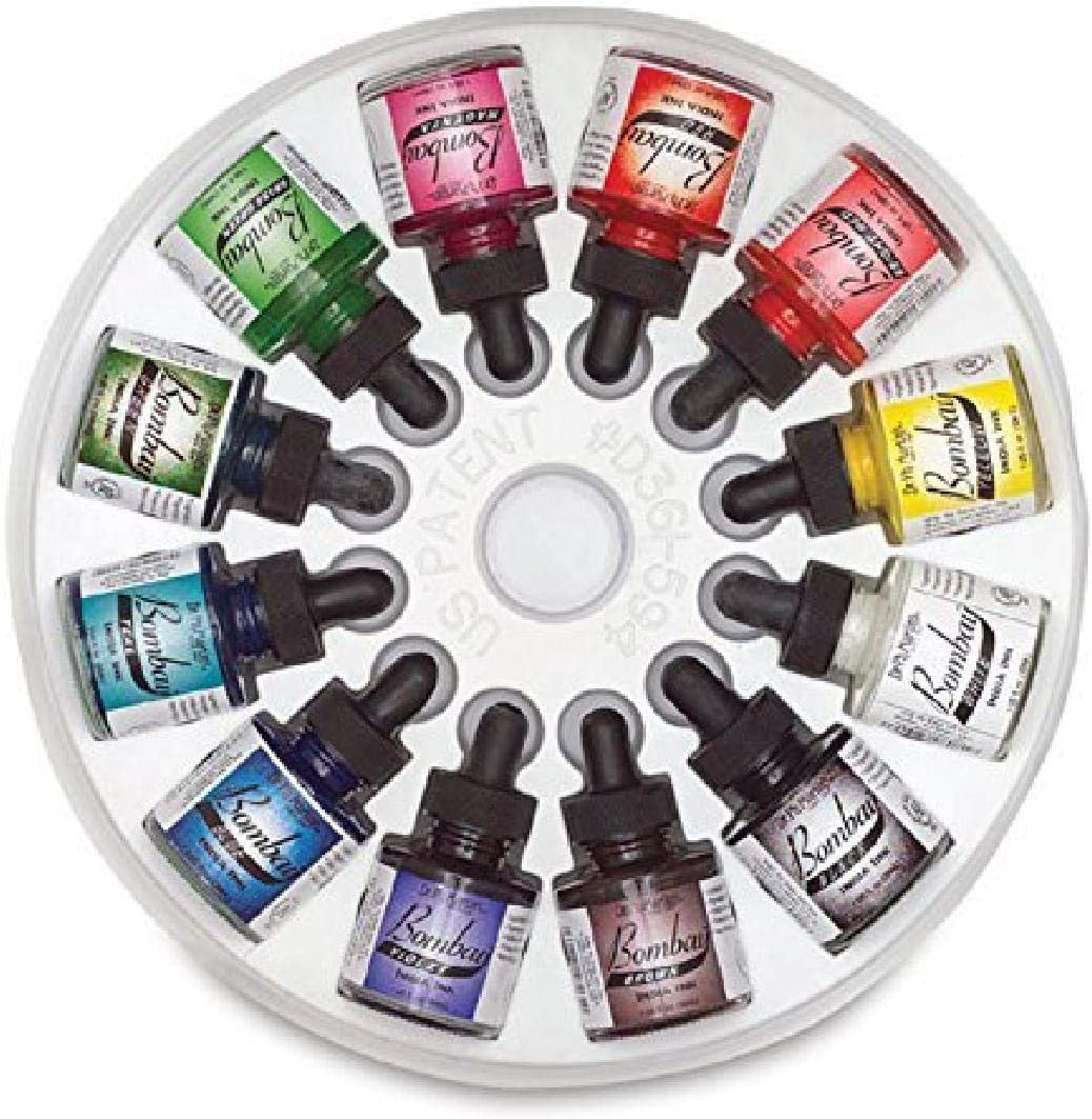 Dr. Ph. Martin's Bombay India Ink (Set 1) Ink Set, 1.0 oz, Set 1 Colors, 1 Set of 12 Bottles