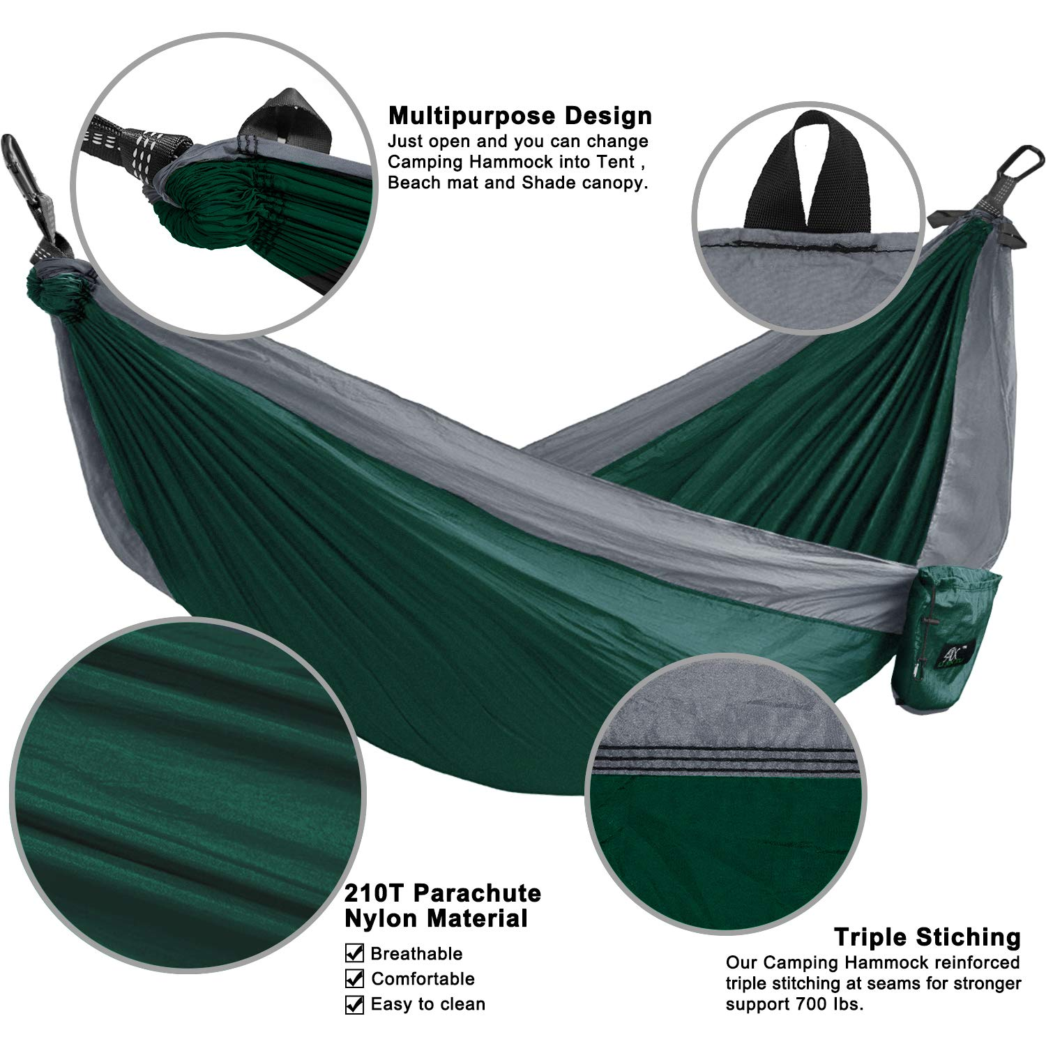 Beach LAX Portable Double Durable Hammock Backpacking Yard Travel Purple//Blue Hiking Multi-Functional Lightweight Nylon Parachute Hammocks Heavy Duty Straps Camping Hammock