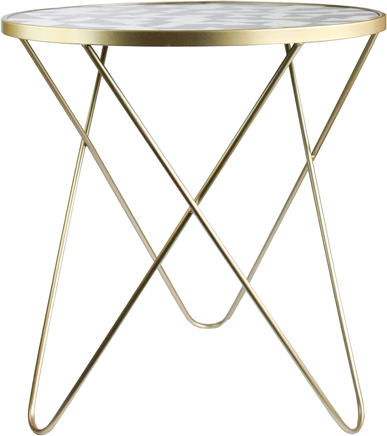 Geometric Pattern Emartbuy Set of 2 Modern Round Gold Metal Side Coffee Table Bedside Nightstand Kitchen Living Room Balcony Table