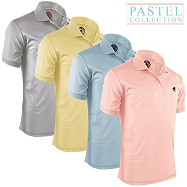 Alfred Morris Mens Short Sleeve Polo Shirts 4 Pack (Pastel ...