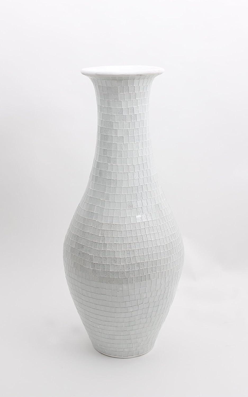 tall floor vase with glass mosaic  cm ceramic white amazonco  - tall floor vase with glass mosaic  cm ceramic white amazoncoukkitchen  home